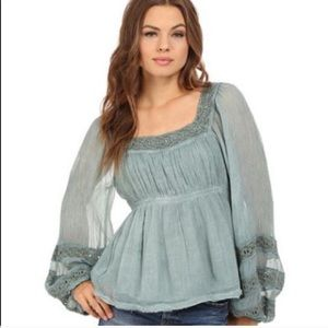 Free People Green Peasant Blouse Moonchaser Sz XS